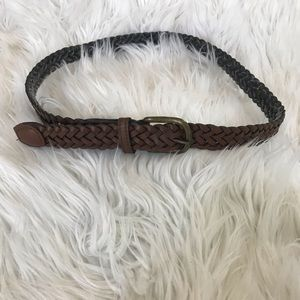 Accessories - Brown Leather Braided Belt with Bronze Tone Buckle